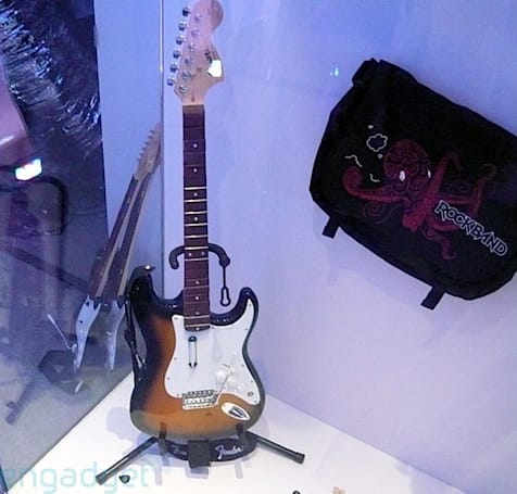 Live shots of Mad Catz's full-size Rock Band 2 Fender Stratocaster and Precision Bass controllers