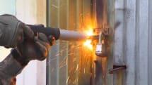 Air Force torch cuts through locks like a hot knife through butter