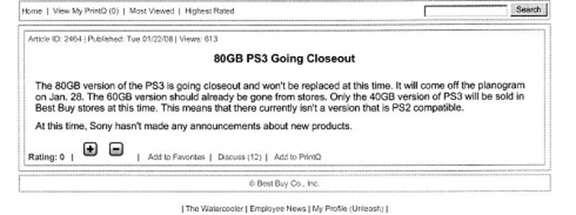 Best Buy closing out 80GB PS3