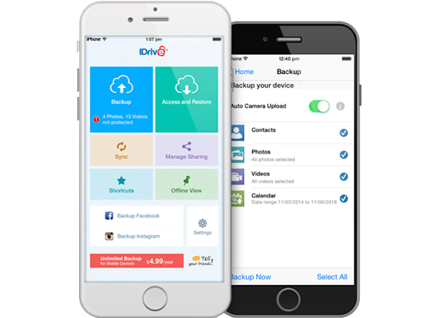 iDrive promises unlimited cloud-based phone backups for $5 per year