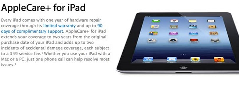 AppleCare+ extended to new iPad, adds two years of support for a fee