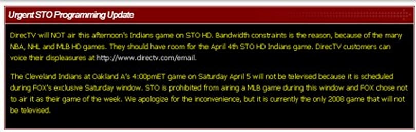 "DirecTV skips White Sox / Indians game due to ""bandwidth constraints"""