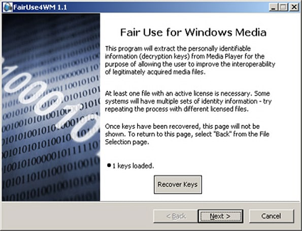 FairUse4WM strips Windows Media DRM!