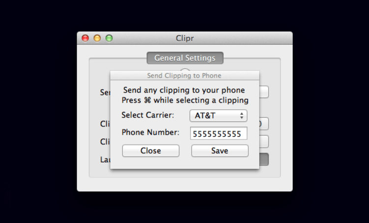 Clipr sends pasted text to your phone via SMS with a press of a button