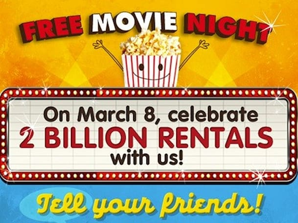 Redbox notches its second billion rentals, offers freebies Thursday to celebrate