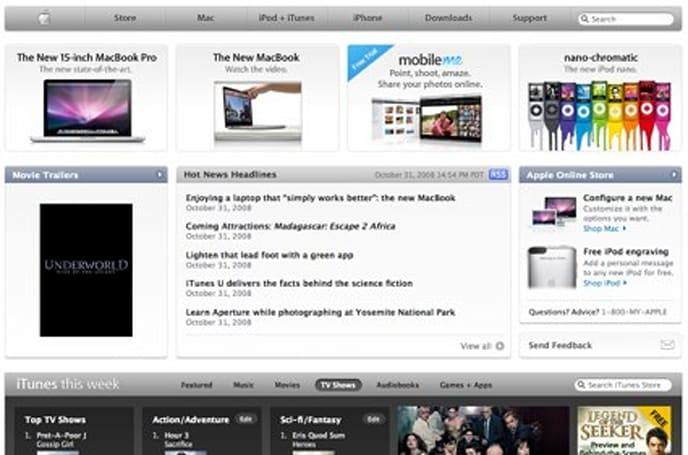 Apple redesigns its start page