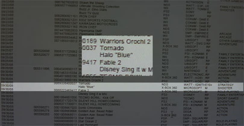 "Wal-Mart database shows entry for Halo ""Blue"""