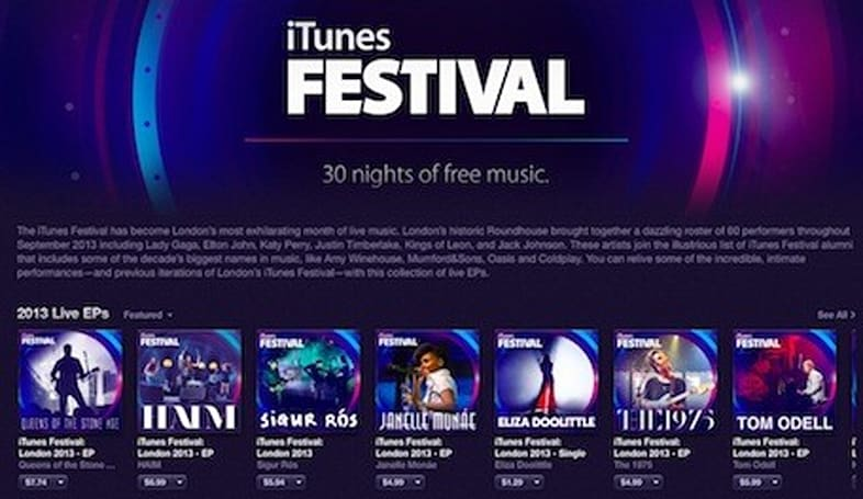 Apple updates iTunes Festival app updated with live EPs from festival performers