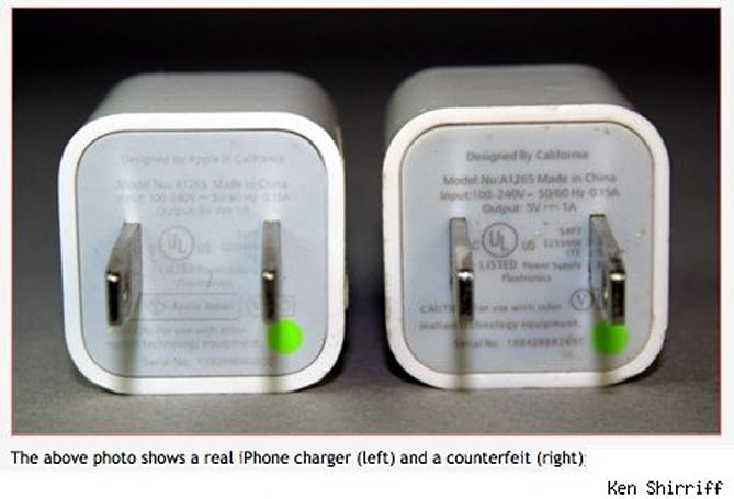 The danger of counterfeit iPhone/iPad USB adapters