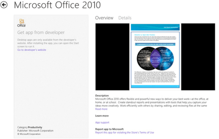 Microsoft Office becomes first non-Metro application within Windows Store