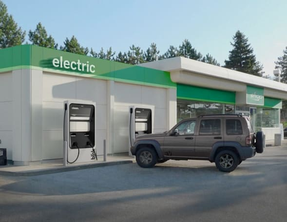 DC Fast Charger joins the ECOtality EV charging station fleet, looks like a fuel pump
