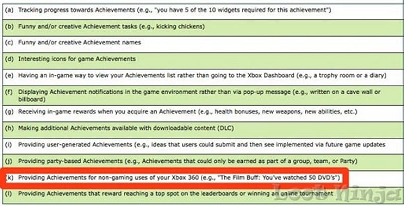 Rumor: MS survey mentions non-gaming achievements
