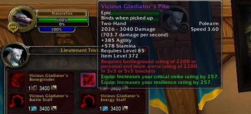 2200 rating PvP weapons now available for purchase