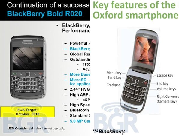 BlackBerry Bold R020 and 9670 Oxford flip outed?