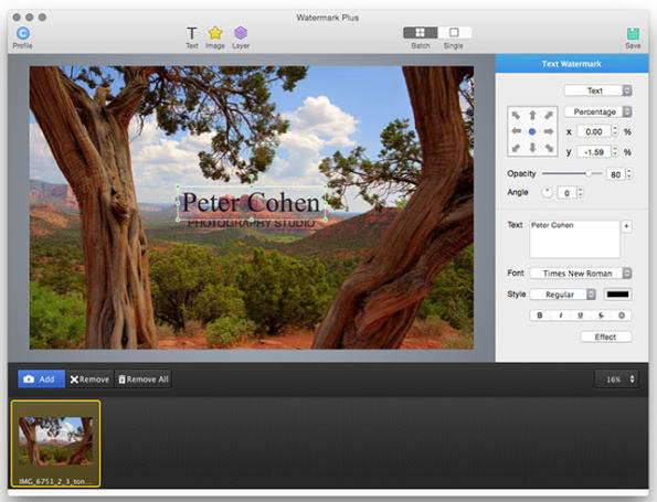 Watermark Plus adds watermarks to your photos quickly and easily
