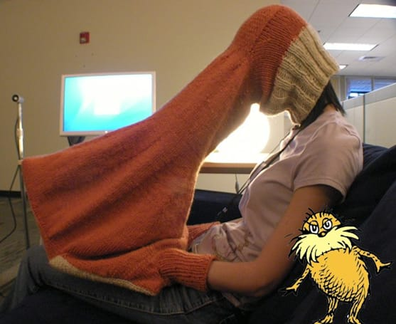 The Body-laptop interface is knitted from Thneed which nobody, Nobody, NOBODY needs
