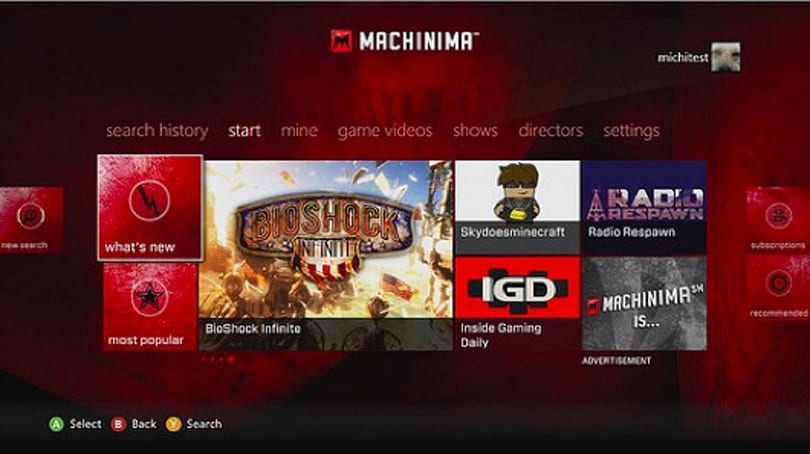 Machinima app, other wildly random entertainment on Xbox Live