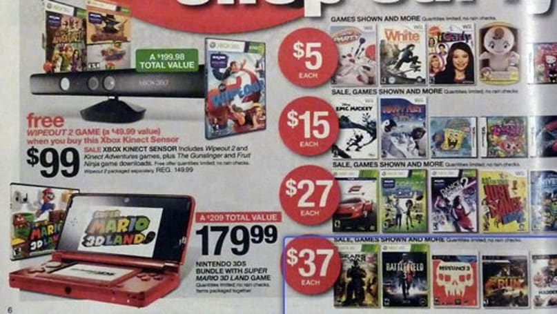 Target Black Friday deals: $37 BF3, Resistance 3, $180 3DS bundle