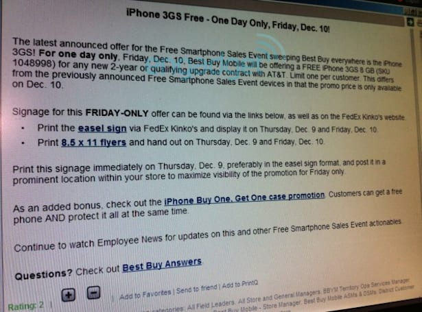 Best Buy makes iPhone 3GS free on contract tomorrow, December 10th