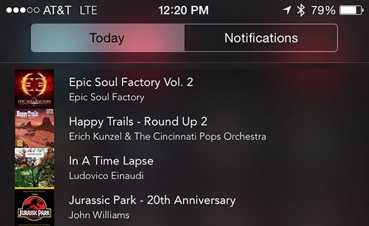 Music Center lets you select music from your lock screen or any app