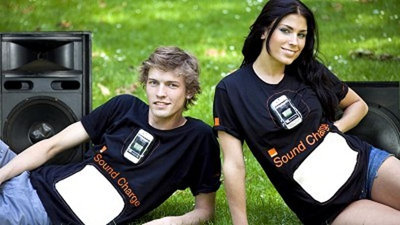 Orange Sound Charge T-shirt will juice up your phone while you listen to the bass go boom