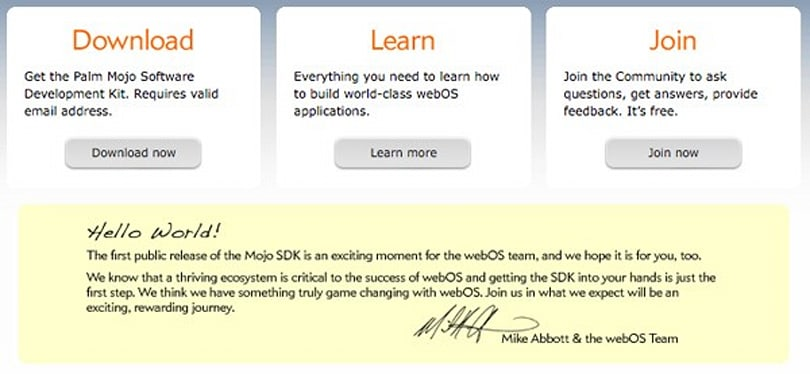 Palm makes Mojo SDK beta and docs publicly available, officially opens developer floodgates