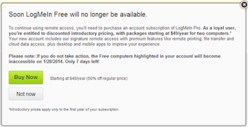 LogMeIn removes free option, users aren't happy (Updated)