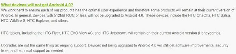 HTC refreshes Android update timeline, details which devices won't get Ice Cream Sandwich