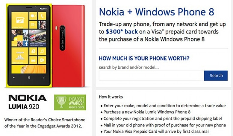 Nokia will pay you up to $300 to trade an old phone for a Lumia