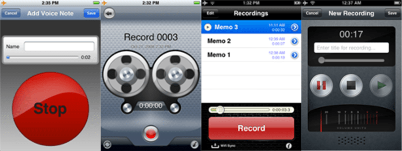 VoiceNotes vs. iDicto vs. Recorder vs. Record