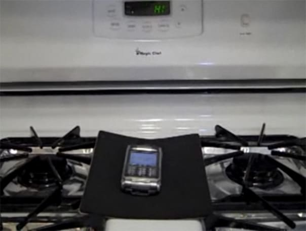 Deprived of a defective battery, phone resorts to remotely starting oven to satisfy pyromania