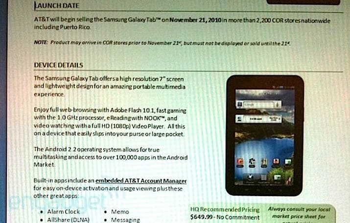 Galaxy Tab hitting AT&T on November 21st for a $649 premium?
