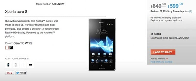 Sony's Xperia acro S now on sale in unlocked form for $600 (updated: new pricing)
