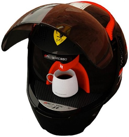 Racespresso racing helmet / espresso machine might've been Top Gear's The Stig, after all