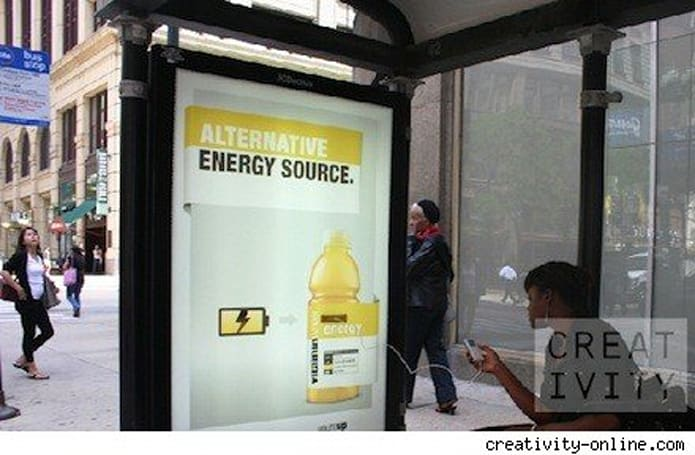 iPhones and other gadgets get a charge from bus shelter ads