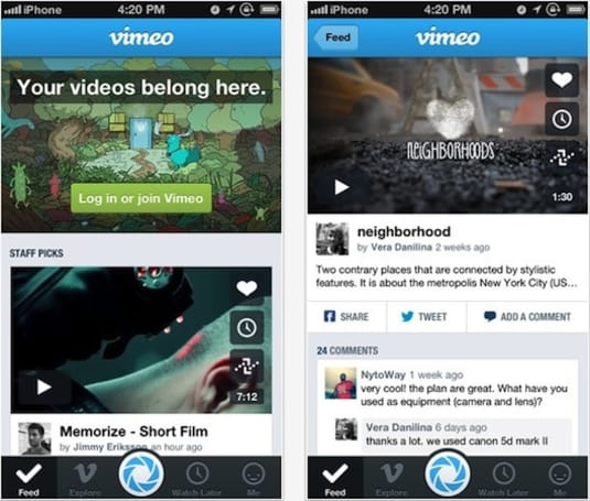 Vimeo revamps iOS app with new design, improved social sharing features
