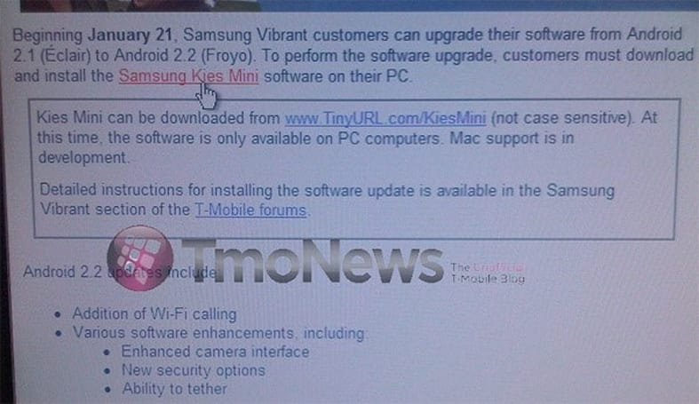 Samsung Vibrant's Android 2.2 update now available, it seems (update: official)