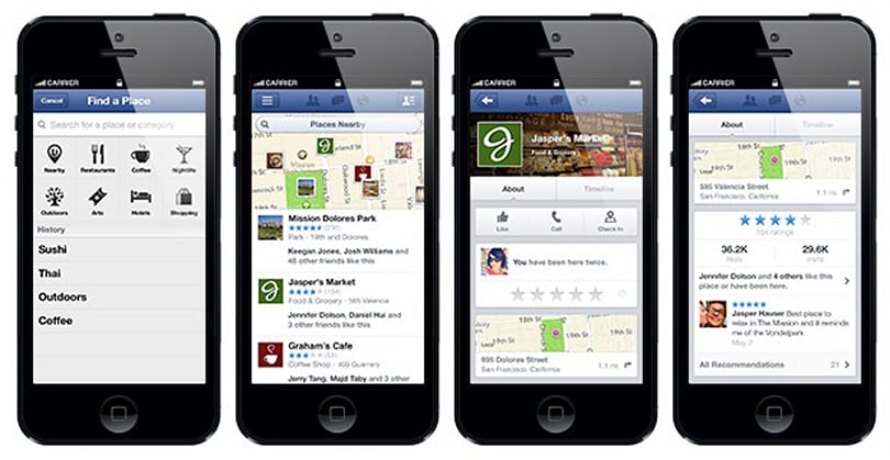 Facebook Nearby helps you discover your friends' hangouts, view local business ratings