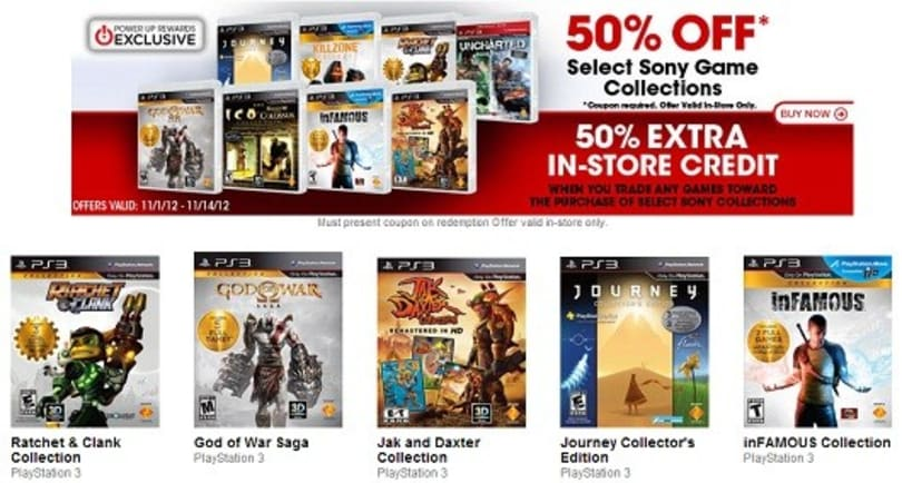 Sony collections half-off sale is live for GameStop Power Up people