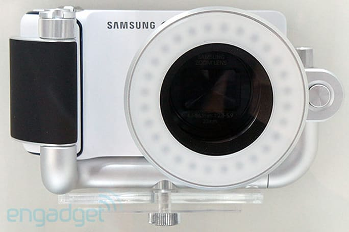 Samsung Galaxy Camera accessories include flashes, wireless charging pad, barn doors (eyes-on)