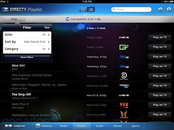 DirecTV iPad app upgrade adds easy multiroom DVR control, HDUI compatibility