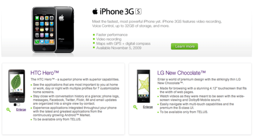 Telus kicks off HSPA+ network with iPhone November 5th, HTC Hero, LG New Chocolate and more to follow