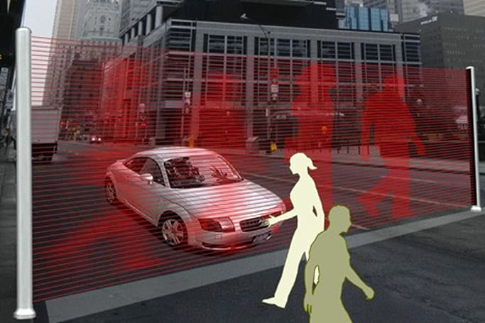 Virtual Wall concept protects pedestrians, livens up crosswalks