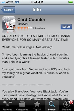 Card counting iPhone app frowned upon in Vegas
