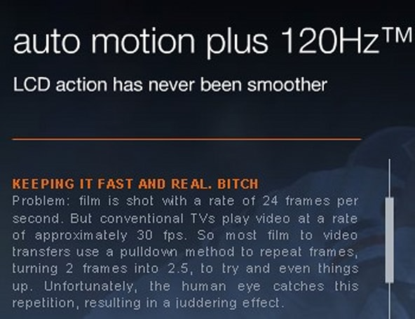 Samsung's Auto Motion Plus so fast, so real it requires expletive to describe