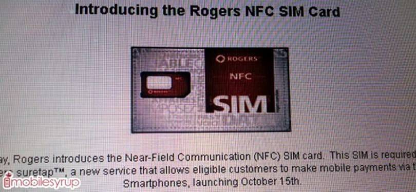 Rogers, CIBC may launch Suretap NFC-based payments on October 15th, require a unique SIM