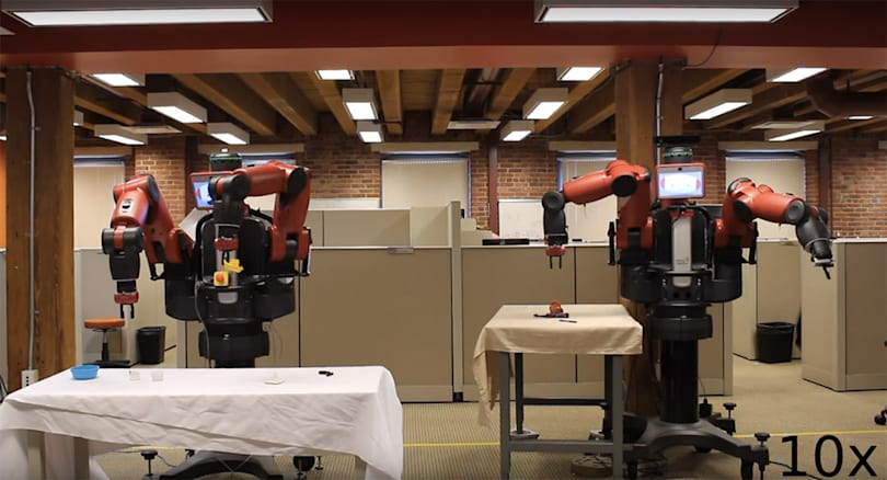 Robots learn to grasp objects by practicing and teaching each other