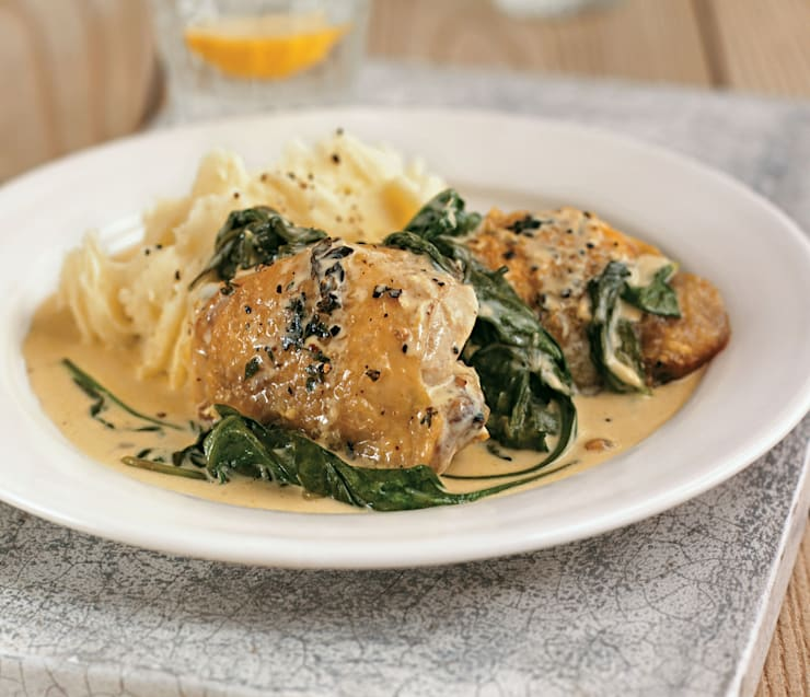 Chicken Thighs with Lemon Crème Fraîche and Greens