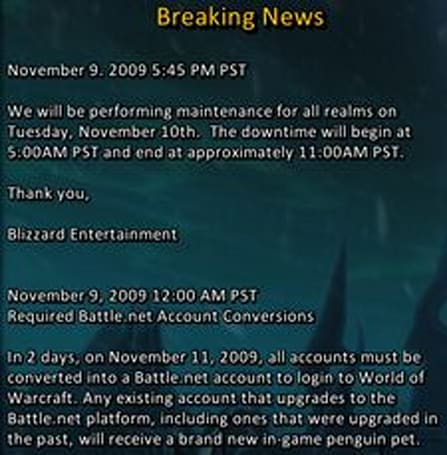 Maintenance for Tuesday November 10th