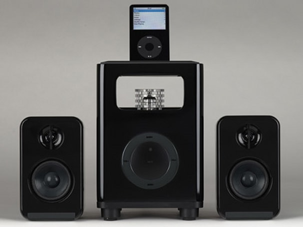 Acoustic Research launches AR4131 blackVault 2.1 vacuum tube speaker system with iPod dock